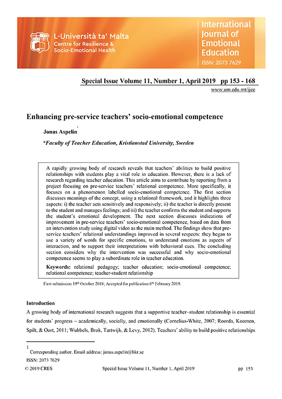 Enhancing pre-service teachers' socio-emotional competence